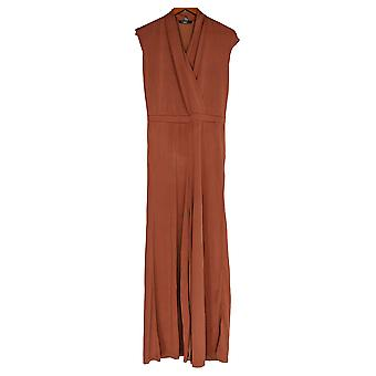 Lisa Rinna Collection Jumpsuits Surplice Wide Leg Rust Brown A353582