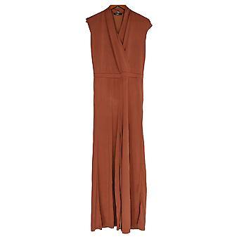 Lisa Rinna Collection Combinaisons Surplice Wide Leg Rust Brown A353582