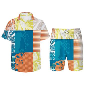 Allthemen Men's 3D Beach Casual Suits 2-Pcs Camisa&Shorts