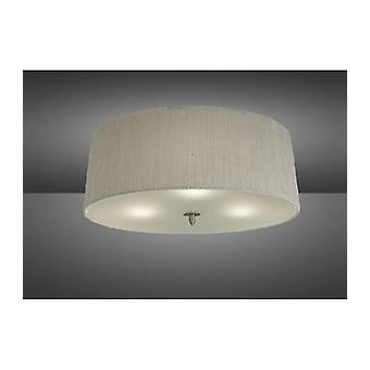 Ceiling Light Lua 3 Bulbs E27, Satin Nickel With White Lampshade