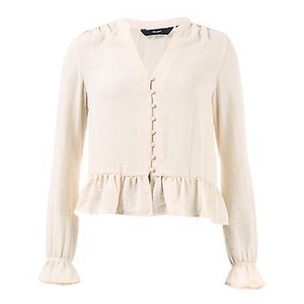 Frauen's Vero Moda Isabella Mini V-Ausschnitt Shirt in Creme