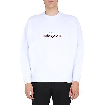 Msgm 2840mm10220709901 Men's White Cotton Sweatshirt