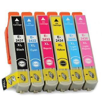 RudyTwos korvaa Epson Elephant T2438 Aseta värikasetti musta syaani Magenta keltainen vaalea syaani & kevyt Magenta yhteensopiva XP-750, ilmaisun valokuva XP-55, XP-950, XP-850, XP-760, XP-860