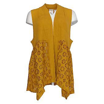 LOGOTIPO por Lori Goldstein Women's Sweater Cotton Slub Vest Gold A305497