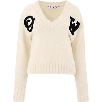 Off-white Owhd014e20kni0010110 Women's White Wool Sweater