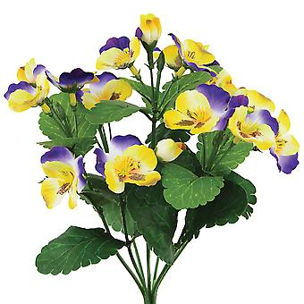 27cm Purple & Yellow Artificial Pansy Bush for Floristry Crafts
