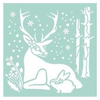 Stamperia dicke Schablone 18x18cm Reindeer & Kaninchen