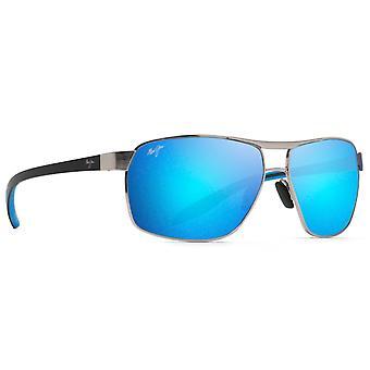 Maui Jim The Bird B835 17A Chrome-Black Blue Temples/Blue Hawaii Sunglasses