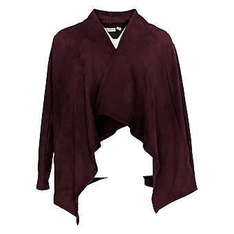 LOGO by Lori Goldstein Women's Sweater (XXS) Faux Suede Red A279482