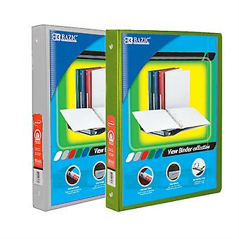Combo18, BAZIC 1/2 Inch 3-Ring View Binder with 2-Pockets (Case pack of 24 consist 12-Grey & 12-Lime Green)