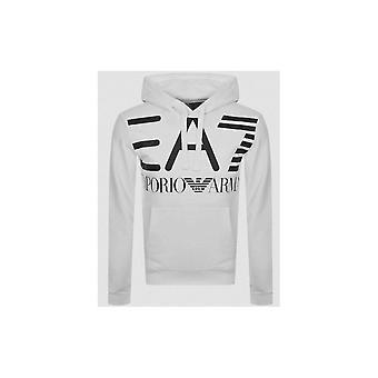 EA7 Emporio Armani Cotton Overhead White Hoodie