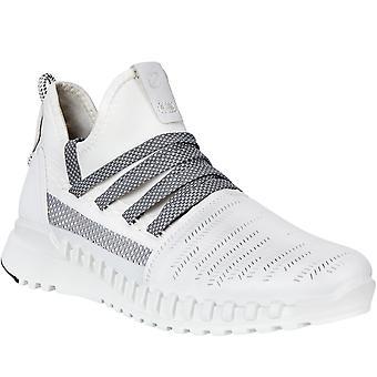 Ecco mujeres ZipFlex cuero al aire libre senderismo a pie tobillo entrenadores zapatos - blanco