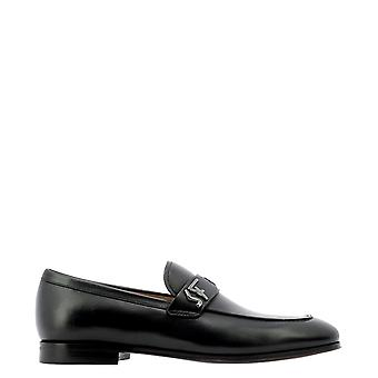 Salvatore Ferragamo 0734669 Men's Black Leather Loafers