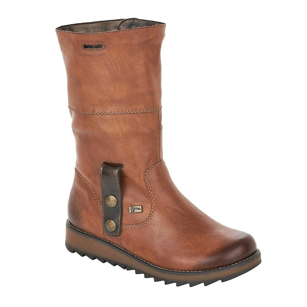 Remonte Tan Two Way Ankle Boot With Faux Fur Tex Lining