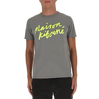 Maison Kitsuné Fm00153kj0008dg Men's Grey Cotton T-shirt