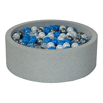 Ball pit 90 cm with 450 balls mother of pearl, transparent, blue & silver