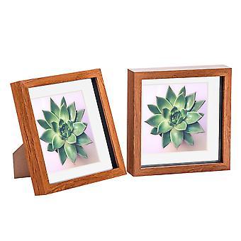 Nicola Frühling 2 Stück 8 x 8 3D Shadow Box Fotorahmen Set - Handwerk Display Bilderrahmen - Glas Blende - dunkles Holz