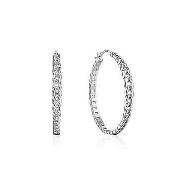Ania Haie Chain Reaction Rhodium Curb Chain Hoop Earrings E021-06H