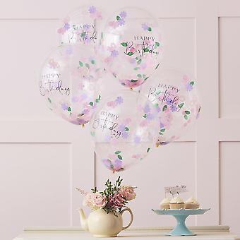 Floral Confetti Happy Birthday Party Balloons x 5 Lets Partea