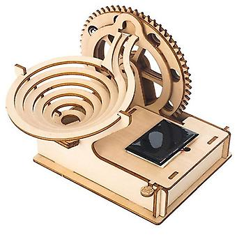 Diy Kids Wooden Puzzle, Kit Solar Track Rolling Ball Assembly Kids Jigsaw Toys-
