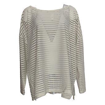 WynneLayers Women's Plus Sweater Sheer Stripe Pullover White 633-838