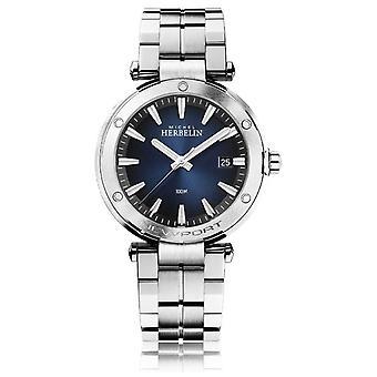 Michel Herbelin Men's Newport | Roestvrijstalen armband | Blauwe wijzerplaat 12288/B15 Horloge