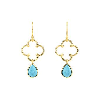 Blue Lucky Open Clover Turquoise Gemstone Gift Yellow Gold Dangle Drop Earrings