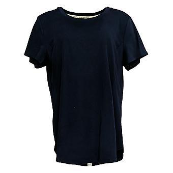 Isaac Mizrahi Live! Damen's Top Scoop Hals Kurzarm Tee blau A379609