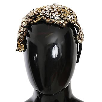 Gold White Crystal Studded Diadem Diade