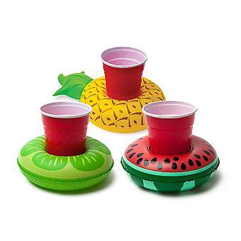Yüzen meyve meyveleri şişme 3 paket içecek tutucu havuzu