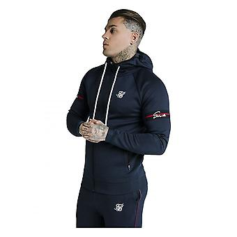 Sik Silk Siksilk Exposed Tape Zip Through Hoodie Navy
