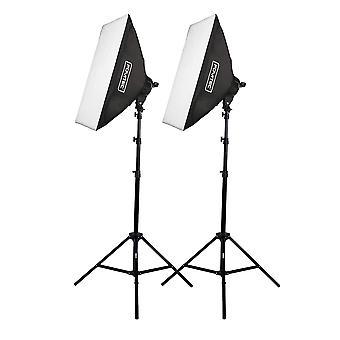 Kit softbox per fotografia ad illuminazione continua Fovitec 2000w con softbox da 51 cm x 71 cm, lampadine da 10 x 45w