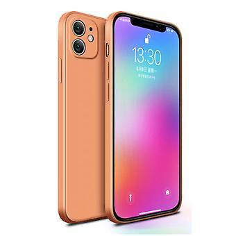MaxGear iPhone 12 Mini Square Silicone Case - Soft Matte Case Liquid Cover Orange