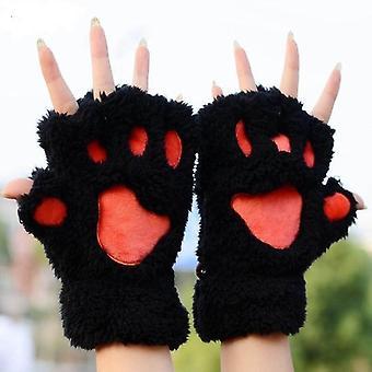 Women Cute Cat Claw Paw Plush Mittens Warm Soft Plush Short Fingerless Gloves