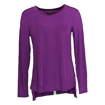 H par Halston Women's Top Essentials V-Neck Curved Hem Top Purple A311536