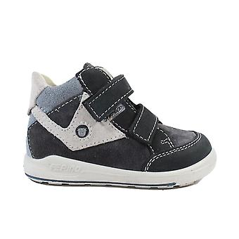 Ricosta Kimo Middle Fit 2431400-492 Grey Nubuck Leather Boys Rip Tape Water Resistant Ankle Boots