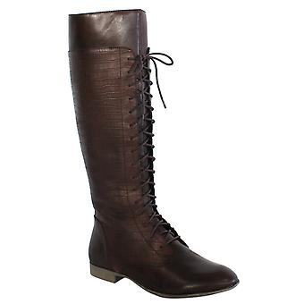 Hush Puppies Farland 16 Pollici Donna Zip Pizzo Up Boot Brown Leather H506634 B8D