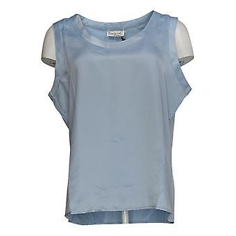 StyleList By Micaela Women's Top Reversible Satin/Matte Tank Blue A388834