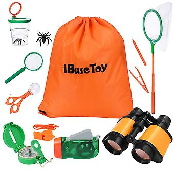 Ibasetoy outdoor explorer kit, kids adventure kit with binoculars, compass, magnifying glass, butter