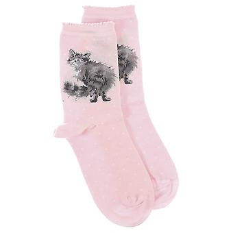 Wrendale Designs Cat Sock with Gift Bag - Glamour Puss