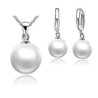 Hladké Svatební Sterling Silver Pearl šperky módní šperky Set