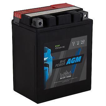 intAct YTX14AH-BS Maintenance Free AGM Bike-Power Battery