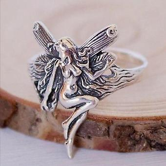 Vintage Silver Plated Angel Wings Rings