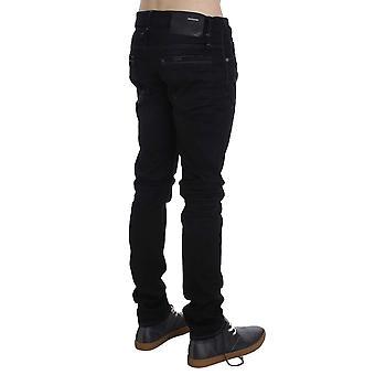 Acht Svart Tvätta bomull Stretch Slim Fit Jeans bakre ficka Logo