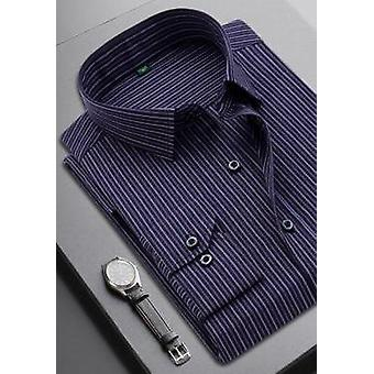 Striped Men's Casual Long Sleeve Business Camisa Xadrez Formal