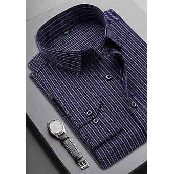 חולצת שרוולים ארוכים מזדמנים לגברים מפוספסים חולצה משובצת רשמית