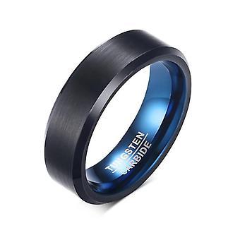 Todellinen tungstenkarbidi rengas musta sininen