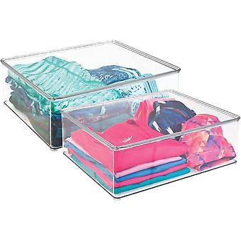 HanFei 2er-Set Wschebox – 12,7 cm hohe Kleiderkiste mit Deckel fr den Kleiderschrank –