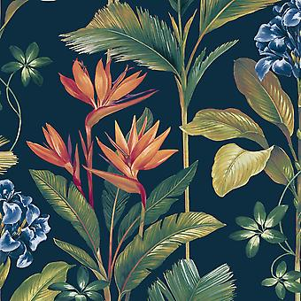 Oliana Floral Wallpaper Navy Belgravia 8487