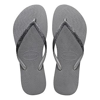 Havaianas Slim Sparkle II Flip Flops - Steel Grey